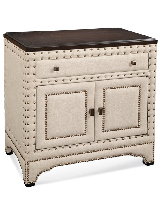 Bassett Mirror - Hampton Chest - Style your transitional space with the eye-catching Hampton Chest. Its features includes natural linen upholstery, brass nailhead trim, a dark wood top and beveled brass drawer handles. Display it in your bedroom or living room for a chic look.