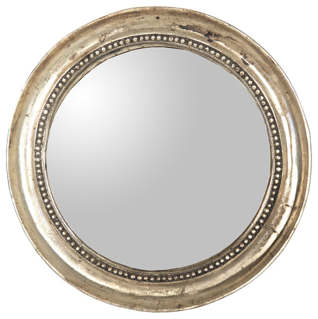 Julian Antique Gold Champagne Distressed Small Round Mirror transitional-mirrors
