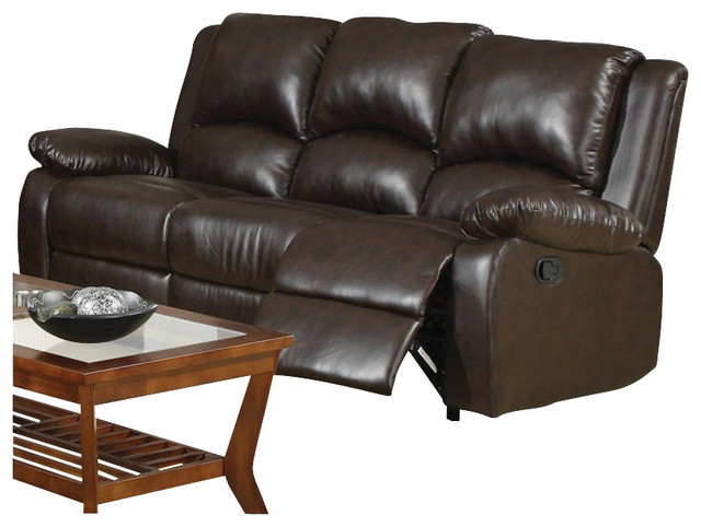 Coaster Boston Three Seat Reclining Faux Leather Sofa in Brown transitional-sofas