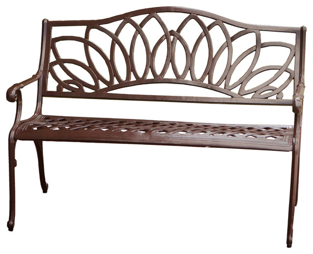 Brockway Cast Aluminum Garden Bench Contemporary Outdoor Benches By Great Deal Furniture