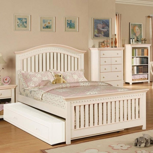 Acme Furniture - Crowley Full Bed with Trundle in Cream/Peach - 00750F transitional-kids-beds