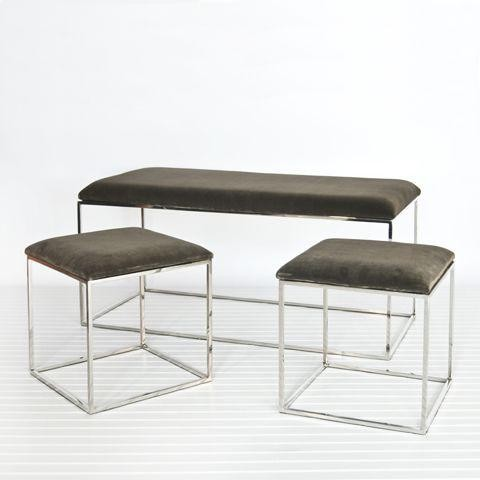 Worlds Away Set of 3-Bench and 2 Stools-Nickel and Brown Velvet traditional-upholstered-benches