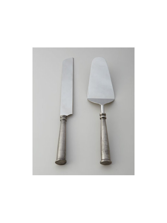 "Horchow - Clermont Cake Servers - The modern construction of these brass and stainless cake servers is sure to add intrigue to any celebratory occasion. Stainless steel and brass. Hand wash. Two-piece set; each, 12""L. Imported."
