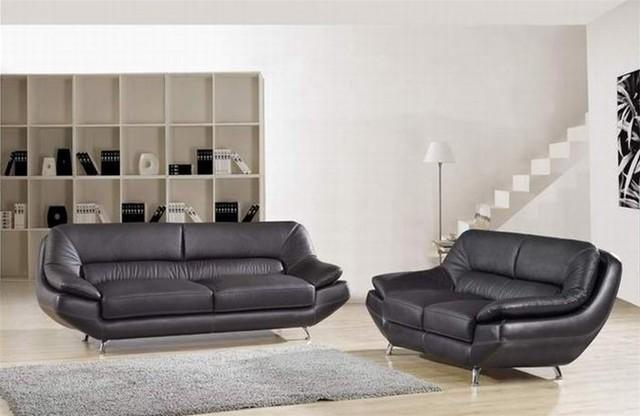 Hollander Black Leather Sofa Set living-room-furniture-sets