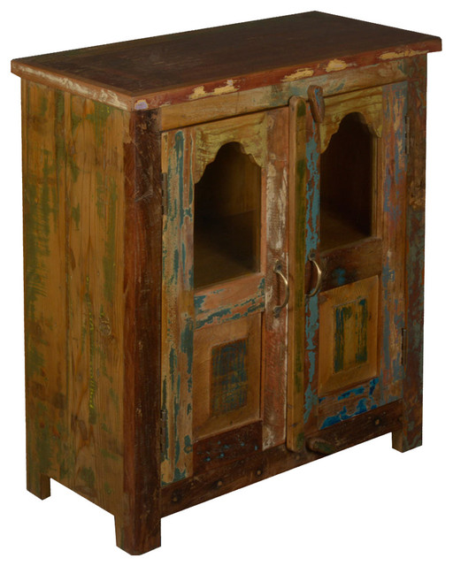 Rustic Wood Bedside Table: Two Window Reclaimed Wood Standing Night Stand End Table