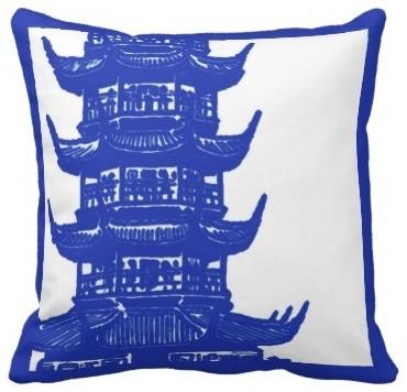 Navy and White Pagoda Pillow asian-decorative-pillows