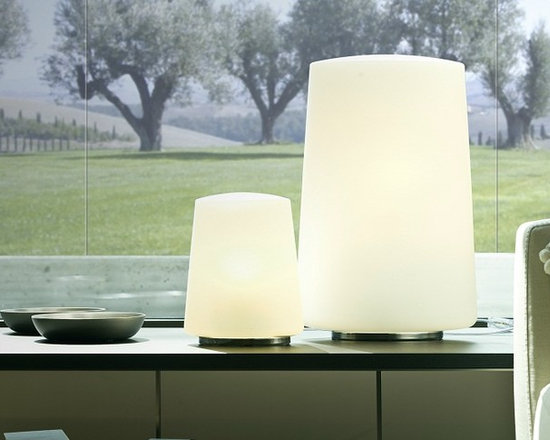 Polar Table Lamp by Penta Light - Polar Table Lamp by Penta Light. Floor and table lamps with structure in glossy chromed metal. Shade in blown white opal glass. Polar Table Lamp by Penta Light are designed by Umberto Asnago.