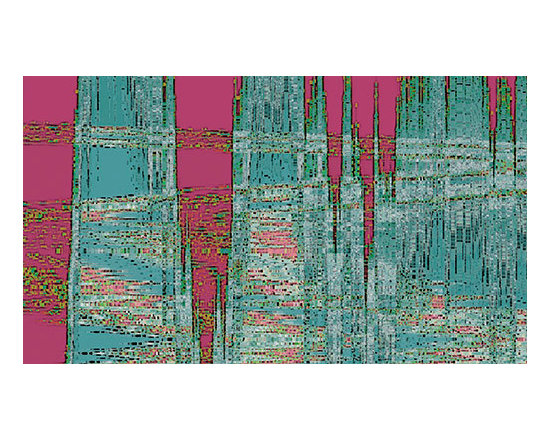 New Era by Ben and Raisa Gertsberg - modern art, canvas art, art print, giclee - Multicolored nature-inspired modern abstraction in contrasting colors of fuchsia pink, teal, turquoise blue and green, with irregular geometric shapes, textured patterns and crossing angled zigzag lines and stripes resembling water reflection or melting icicles in spring. Fun abstract piece for modern, contemporary or eclectic style of decor.