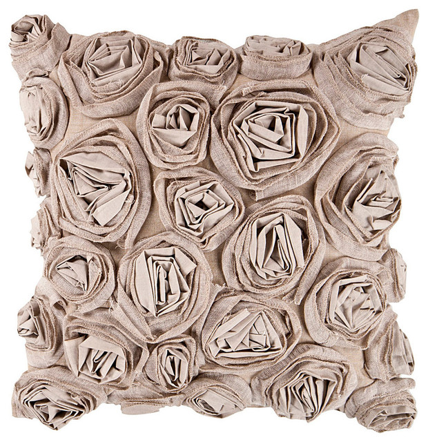 Rosette Decorative Pillow : Multi Pleated Rosette Decorative Pillow - 18