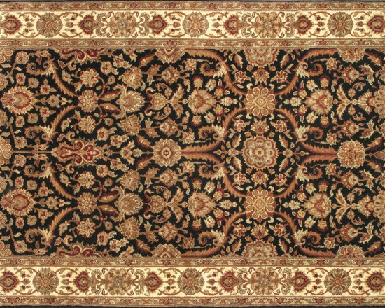 Rugsville Agra Black Beige Wool 10439 Rug - Rugsville Agra rug complete your home decor with Traditional style. Rug features are black background with beige border colors.