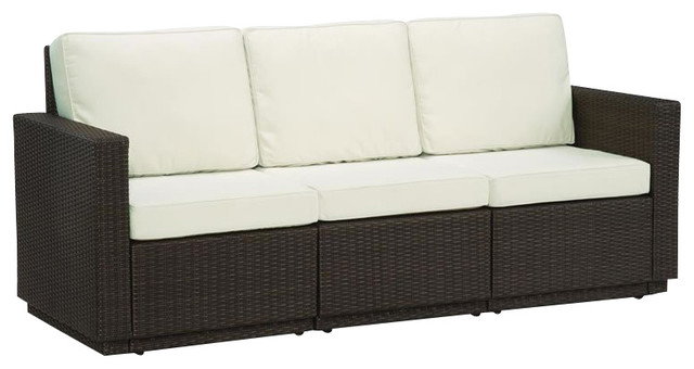Home Styles Riviera Three Seat Sofa in Stone transitional-patio-furniture-and-outdoor-furniture