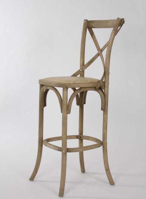 Zentique Parisienne Cafe Bar Stool in Natural Oak traditional-bar-stools-and-counter-stools