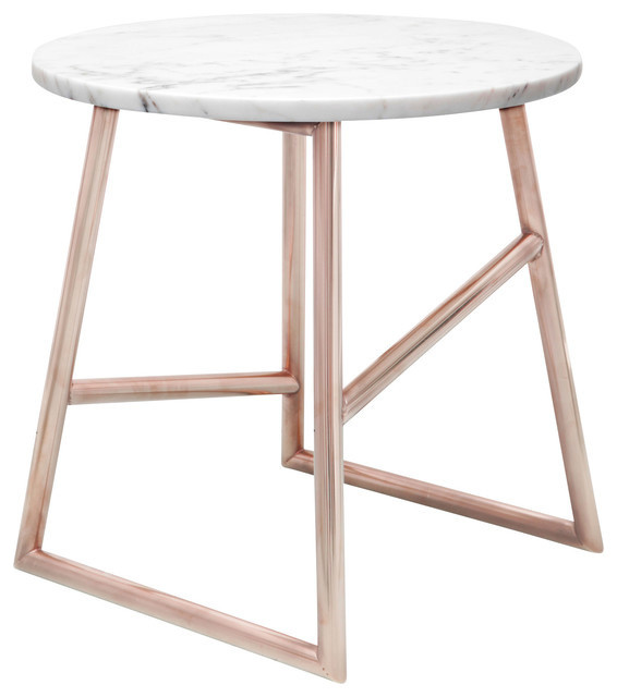 Algedi Table, Copper/Marble - Contemporary - Side Tables ...