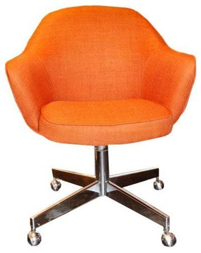 Orange Linen Saarinen Style Office Chair Modern Armchairs And Accent Chai