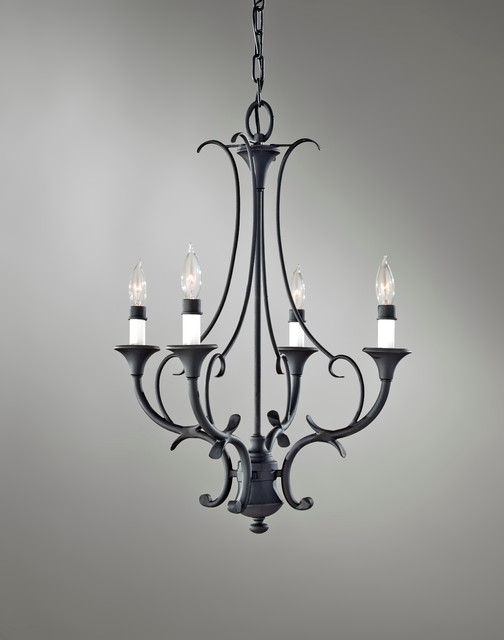 Feiss Peyton 4-Light Mini Chandelier in Black Finish chandeliers
