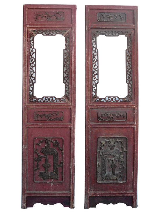Pair Vintage Chinese Red Open Window Wood Panel Decor - This is an old Chinese wood panel with two open windows at the center. Relief carving of oriental people and flowers is at the top and bottom. It is rustic with worn off marks and wood crack. Loose part will be fixed. Red front color.