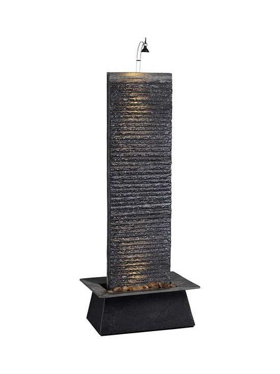 "Stone Fountain w/10 watt Hologen bulb, 36"" Natural black - This  stone fountain is made of natural slate and decorative polished river rock with a splash guard basin. Included is a pump and a 10 watt halogen light with transformer. Note: Due to the use of natural stone there will be slight variations in color and/or texture."
