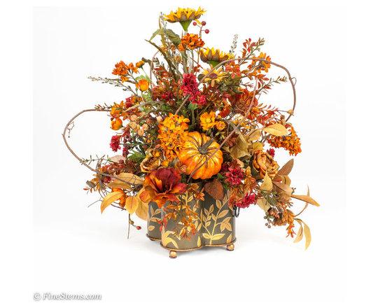 Custom silk fall floral arrangement - Custom silk fall floral arrangement placed in a unique green container.