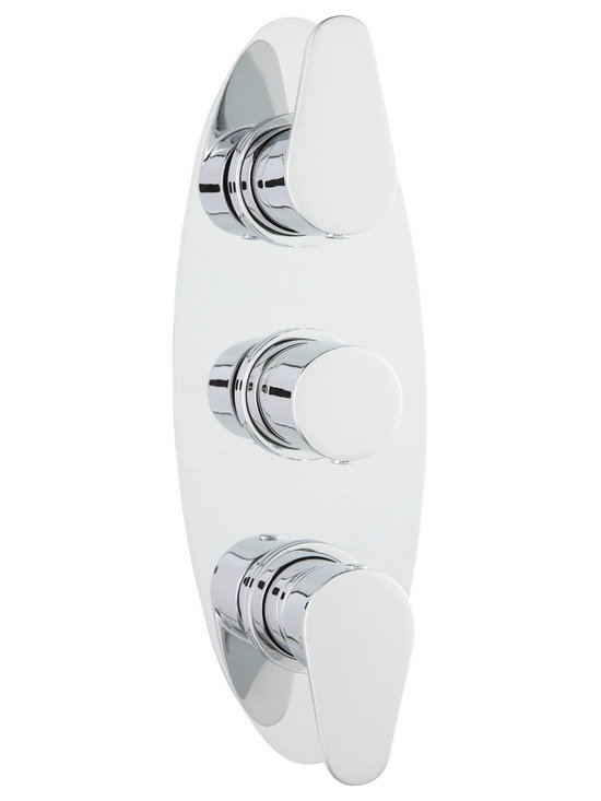 Hudson Reed - Tilt Concealed Thermostatic Triple Shower Valve & Diverter 3 Outlets - The Hudson Reed Tilt triple thermostatic shower valve with diverter is perfect for adding a hint of contemporary style to your bathroom. With stylish yet easy to use handles this high quality shower valve supplies water to three separate outlets such as body jets, tub filler and a fixed shower head.  Incorporating ceramic technology this thermostatic shower valve provides smooth and accurate control over the flow and temperature of the water, while the built-in anti-scald device offers complete peace of mind when showering. The durable shower valve has been made from solid brass with a chrome finish to blend in with any decor.  It may be possible to use the shower head at the same time as the body jets or shower handset, but this can reduce the flow of water to both functions.  Warranty: 10 years.