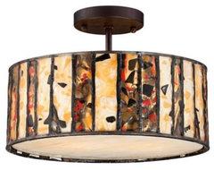 Semi-Flush Earth Tone Art Glass Tiffany Style Ceiling Light | LampsPlus.com ceiling-lighting