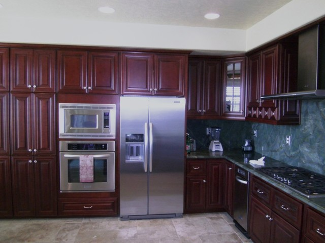 O 39 neil cherry kitchen traditional kitchen cabinetry for Burgundy kitchen cabinets