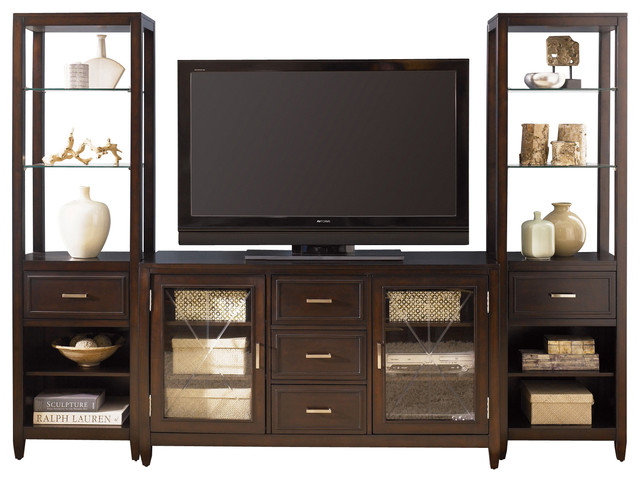liberty caroline entertainment center with piers in espresso stain