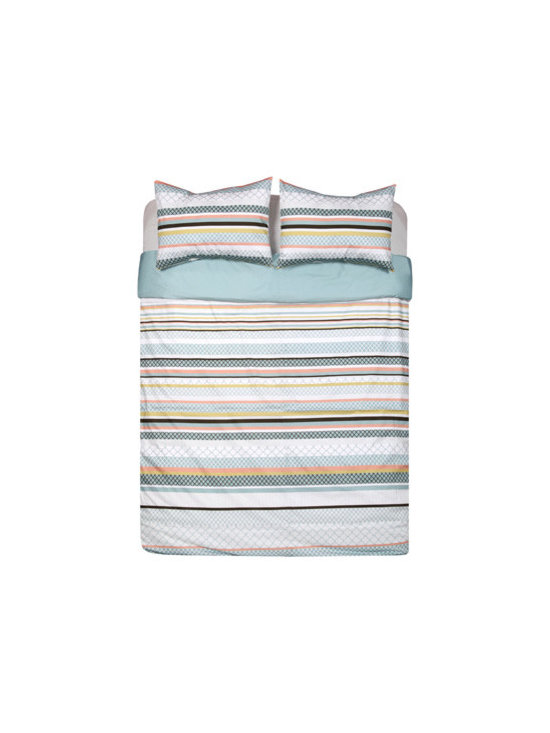 Recoleta Duvet Set - Bold-patterned stripes may translate as Tucumán lace, hand-painted tiles or balcony trellises. Colors of lake, terracotta, ice, moss and slate may whisper of historic mansions or the vast Patagonian sky. Wherever our Recoleta duvet set takes you, the feeling is fresh, modern and relaxing. Duvet and shams reverse to solid lake. Set includes duvet cover and two pillow shams.