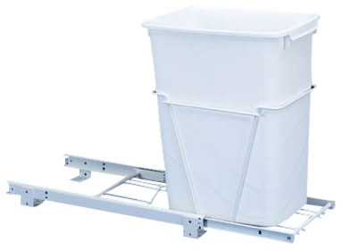 Rev-A-Shelf RV-12PB-50 Single 50 Qt. Pullout Waste Container - White traditional-kitchen-trash-cans