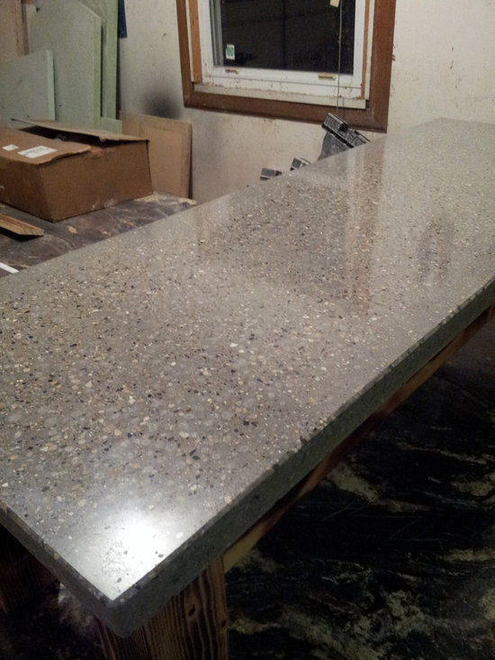 Grey Concrete Coffee Table - Grey heavy exposed aggregate high polished look