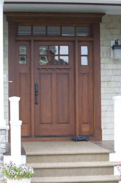 Top Lite 2 Panel Entry Door With Transom And Sidelites Traditional Front