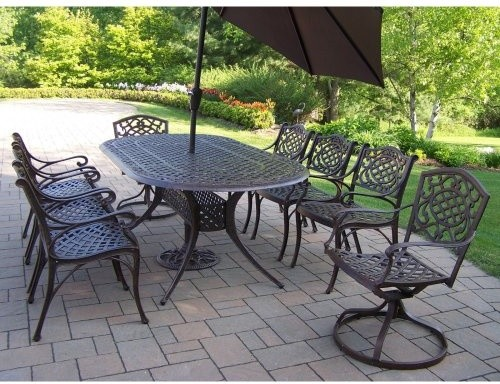 Oakland Living Mississippi Cast Aluminum 82 x 42 in. Oval Patio Dining Set with traditional-patio-furniture-and-outdoor-furniture