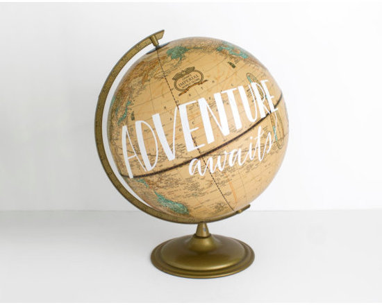'Adventure Awaits' Painted World Globe by Wild & Free Designs -