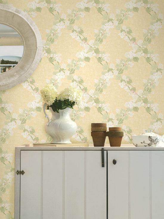 Delphia Beige Jasmine Trails Brewster Wallpaper -