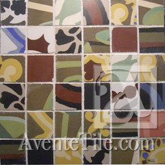 Handmade Cement Tile Fragments Large Square Mosaic - Fall
