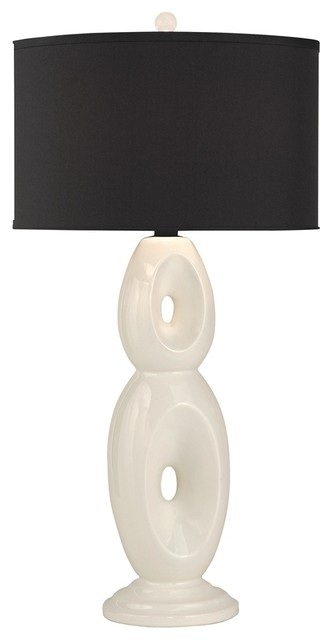 Contemporary Thumprints Loop White With Black Shade Table Lamp contemporary-table-lamps