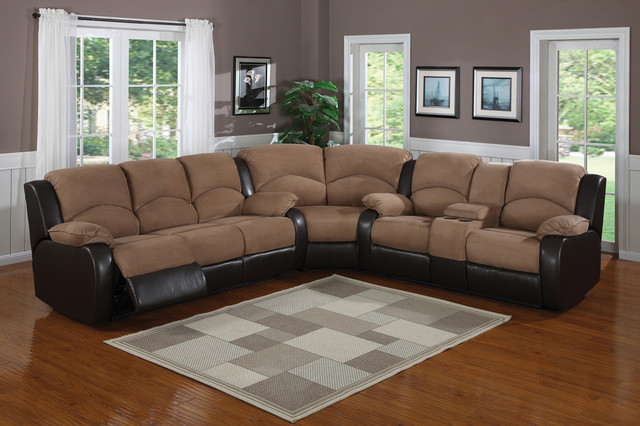 Saddle Brown Padded Microfiber Suede Reclining Sectional Sofa Console contemporary sectional sofas los angeles