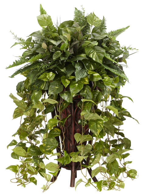 Nearly Natural Vining Mixed Greens with Decorative Stand Silk Plant traditional-artificial-flowers-plants-and-trees