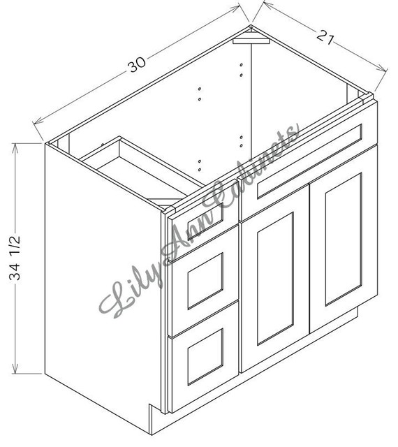 RTA Cherry Bathroom Vanities V3021 - Double Door Vanity ...