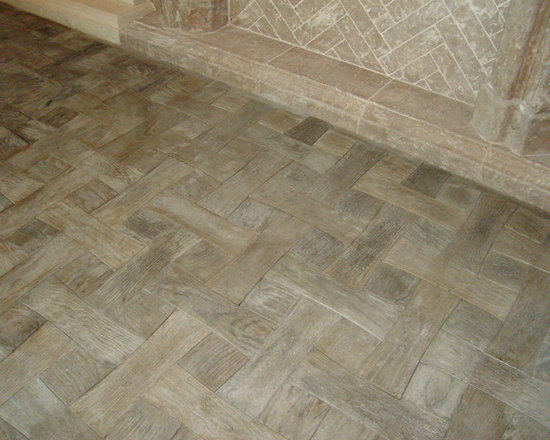 Flooring made from Concrete Tiles - concrete tile floor made to look like wood by Realm of Design