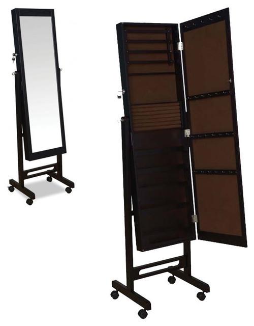 Espresso Rolling Jewelry Armoire Wardrobe Floor Dressing Mirror Cheval Glass - Contemporary ...