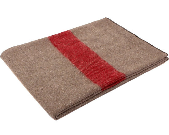 Tan and Red Swiss-Style Wool Blanket -