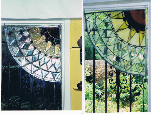 Stained glass panels and lighting contemporary-artwork