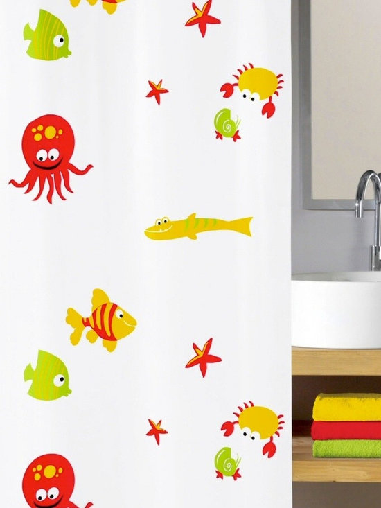 PVC Free Kids Shower Curtain - Bounty - Your kids will want to dive into the bath courtesy of this fun and gentle shower curtain. In red, yellow and bright green, a host of undersea creatures cavort across the white background made of a PVC-free material. Help them take the plunge.