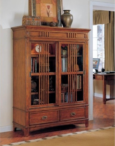 Martin kathy ireland Mission Hills Sliding Door Wood Bookcase - Traditional - Bookcases - by ...