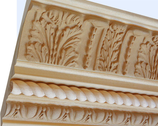 "Inviting Home - Lancaster Crown Molding - wood crown molding 5-1/4""H x 5-5/8""P x 7-1/2""F sold in 8 foot length (3 piece minimum required) Decorative Poplar wood crown molding specifications Outstanding quality crown molding profile milled from high grade kiln dried solid poplar hardwood. High relief ornamental design crafted using fine grade stainable composition material. Crown molding sold unfinished and can be easily stained painted or glazed. The installation of the wood crown molding should be treated the same manner as you would treat any wood molding: all molding should be kept in a clean and dry environment away from excessive moisture. acclimate wooden moldings for 5-7 days. when installing wood crown moldings it is recommended to nail molding securely to studs and glue all mitered corners for maximum support."