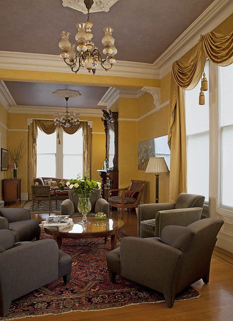 Asian Style Window Treatments http://www.houzz.com/photos/550118/Victorian-style-window-treatments-in-bronze-satin-fabric-with-tassels-and-swags-traditional-curtains-san-francisco