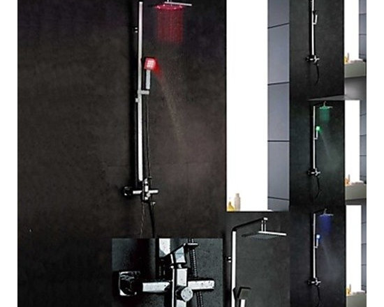 Shower Faucets - Wall Mount Color Changing LED Contemporary Brass Shower Faucets - Chrome Finish