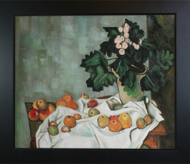 Cezanne - Still Life with Apples and a Pot of Primroses Oil Painting modern-prints-and-posters