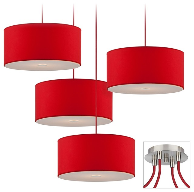 red drum brushed nickel 4 light multi light pendant. Black Bedroom Furniture Sets. Home Design Ideas