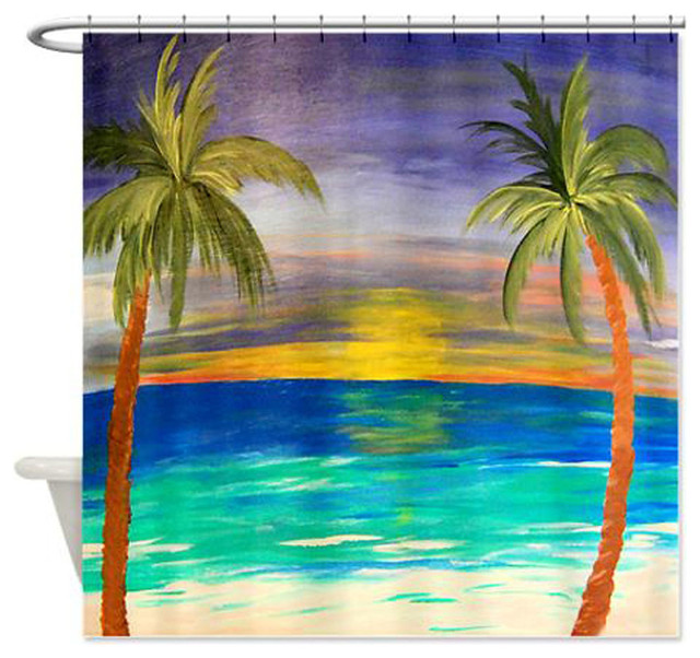 Tropical Sunset Shower Curtain Tropical Shower Curtains By Gifts By The Beach